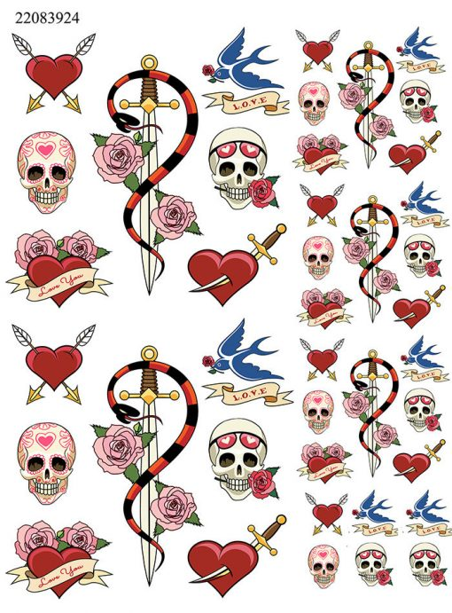 Tattoo Hearts and Skulls ~ 22083924 ~ Ceramic Decal - Glass Decal ~LEAD FREE & Food Safe ~ Enamel Decal ~ Waterslide Decal ~ 3 sizes